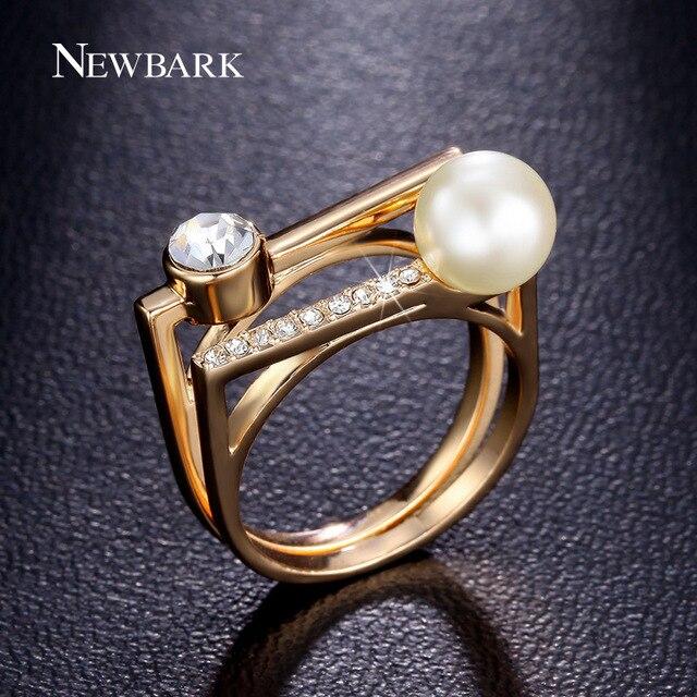 Newbark Fashion Wedding Bands Ring Set Simulated Pearl Bezel Setting