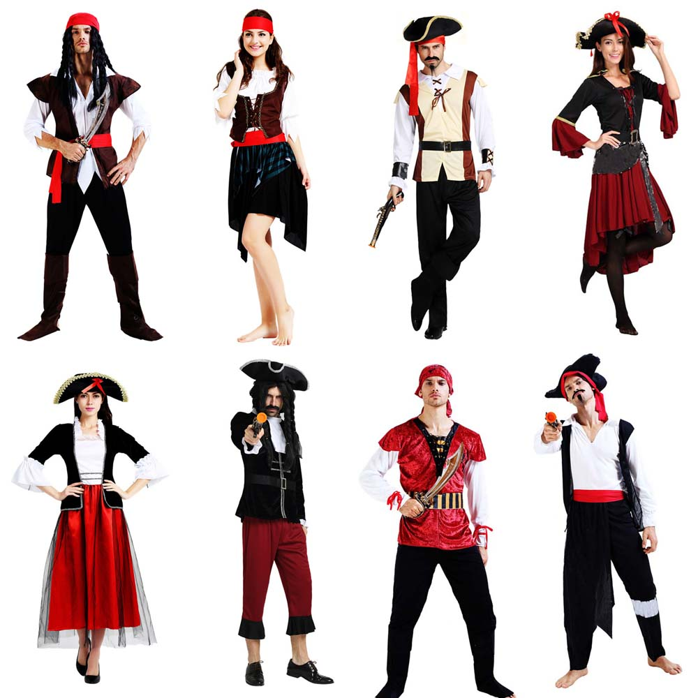Női férfiak férfi kalóz jelmez felnőttek maszkolás Cosplay kalóz jelmezek Téma fél ruha Purim halloween karácsony