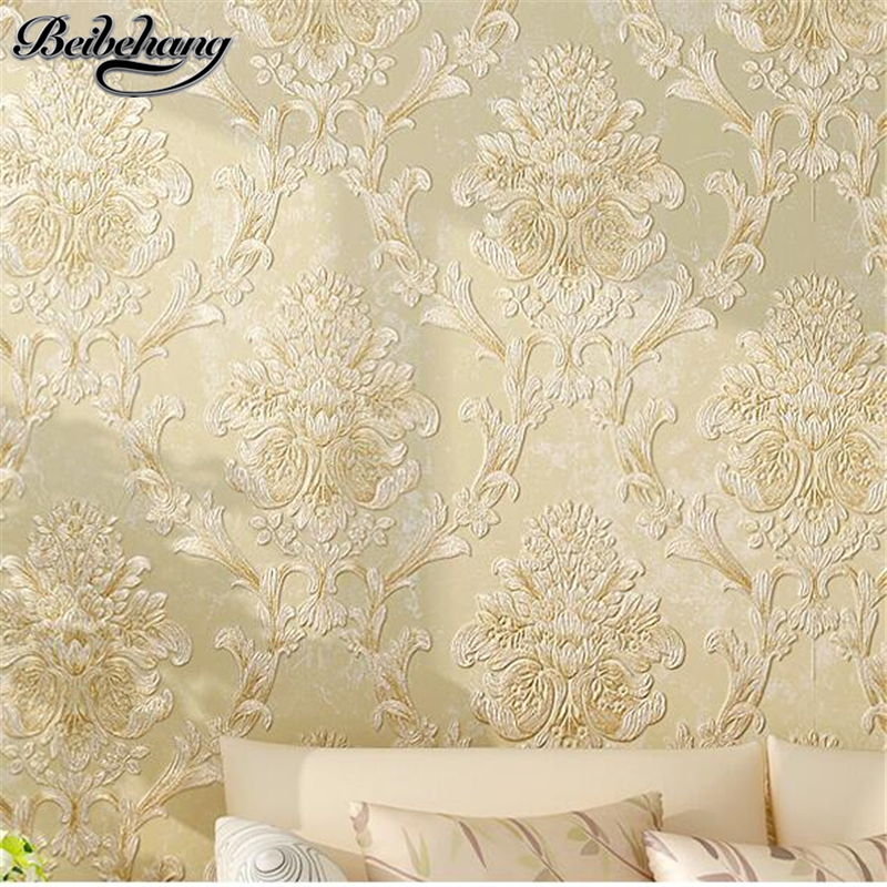 beibehang European non-woven wallpaper 3d stereo relief fine pressure Damascus bedroom living room background wallpaper beibehang pressure 3d non woven wallpaper luxury european style living room wallpaper background wallpaper