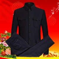 Männer Tweed Mao Anzug Set Schwarz Zhonshan Mantel Zwei Stück Hose Set Mans Chinesischen Tunika Anzug Twinset Männlichen Klassischen Wolle blends Kostüm