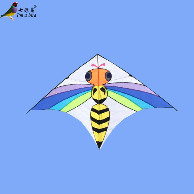 Free Shipping Outdoor Fun Sports 2015 New 2.5m Power Colorful Bee Kite With Handle And Line Good Flying