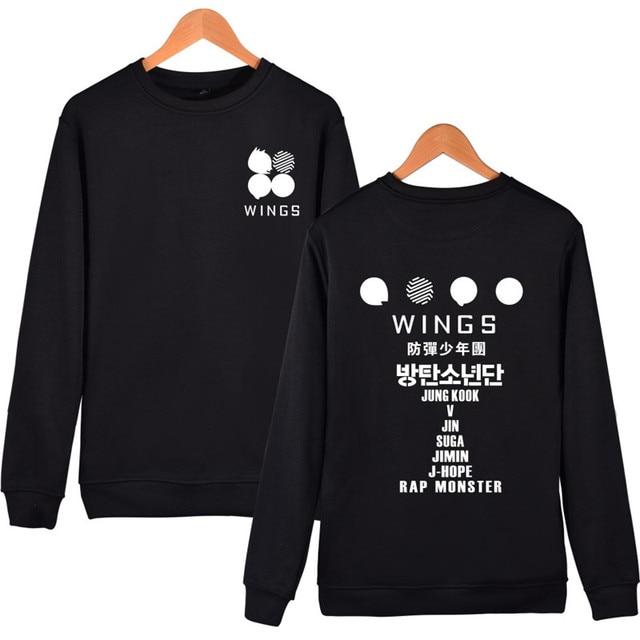 2017 Bts Kpop Wings Sweatshirt Men Black Bangtan Boys Jimin Album Printed Hoodies Long Sweatshirt Harajuku O-neck Plus Size