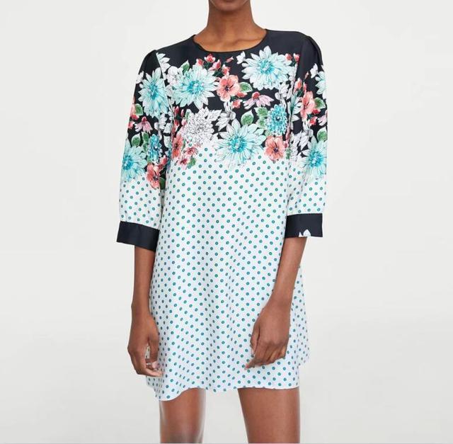 ece1032fa3a 2018 moda mujer vestido vintage floral Polka Dot imprimir vestidos o cuello  recto casual señora verano