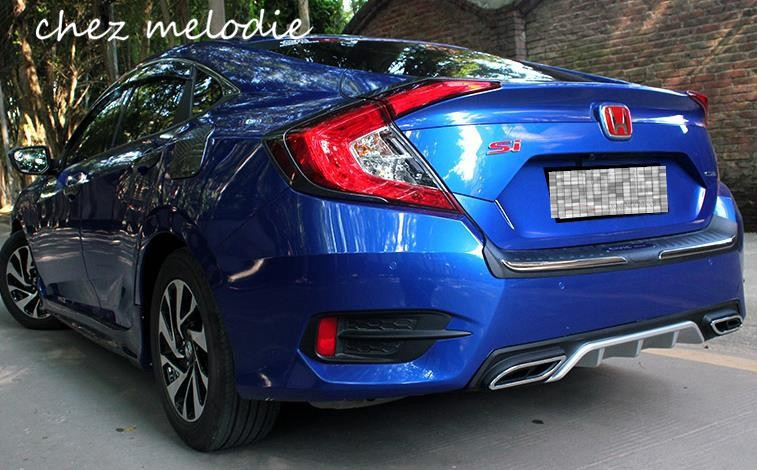 Dualmiddle Exhaust Style Abs Car Rear Bumper Diffuser Protector For Honda Civic 10 2016: 2016 Civic Dual Exhaust At Woreks.co