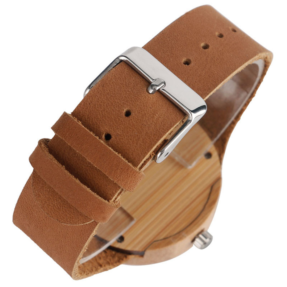 Creative Bamboo Blue Green Wooden Watch Dial Genuine Leather Casual Lovers Women Roman Number Quartz Wristwatch Relojes (11)