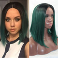 Harajuku Gradient Black Green Ombre Wig Central Parting Medium Straight Bob Wig for Black Women Perruque Synthetic Cosplay Wig