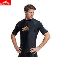 Sbart Men's Surf Rash Guards Short Sleeve Diving Suit Anti UV Swimming Surfing Snorkeling Beach Swimsuit Male Quick dry T shirts