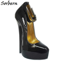Sorbern Sexy 18Cm High Heel Pumps Women Pointy Toes Metal Stilettos Platform Shoes Italian Women Shoes Ladies Party Shoes 2019