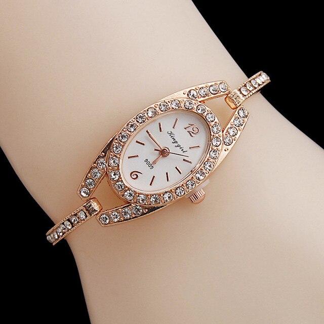 Luxury Brand Rhinestone Rose Gold Watches Women Stainless Steel Bracelet Diamant