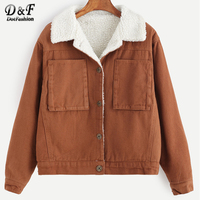 DotfashionSingle Breasted Sherpa Lined Jacket Coat Outwear 2017 Autumn Khaki Long Sleeeve Top Pocket Casual Short