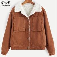 DotfashionSingle Breasted Sherpa Lined Jacket Coat Outwear 2017 Autumn Khaki Long Sleeeve Top Pocket Casual Short
