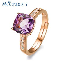 MOONROCY Free Shipping Fashion Cubic Zirconia Squar Purple Red Crystal Promise Wedding Rings Jewelry Wholesale for Women Gift