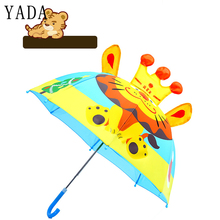 YADA Design Cartoon Animals Print 3D Crown Lion Umbrella Rainproof Sun Rainy Cute Long Handle Boy Girl Kids Tools YD047