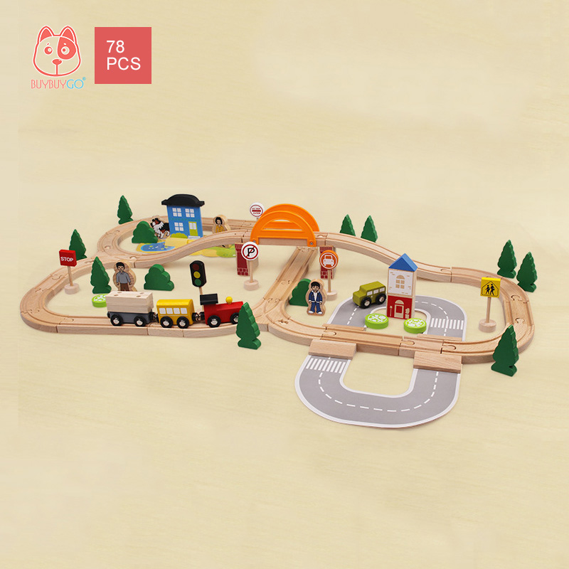 Wooden Series 78PCS Train Track Building Block Toys Children's Educational Toys Character Scene Stitching Track Toy Set