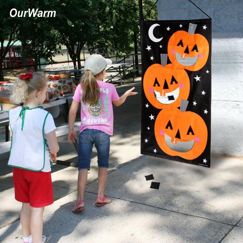 OurWarm Halloween Games Pumpkin Bean Bag Toss Game 3 Bean Bags Felt Bean Bag Games for Kids Party Halloween Decorations