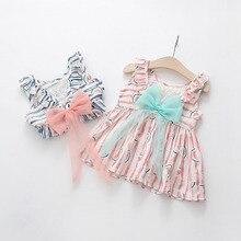 WYNNE GADIS Infant Baby Girls Summer Short Sleeve Striped Watermelon Party Bow Princess Sundress Kids Dress vestido infantil