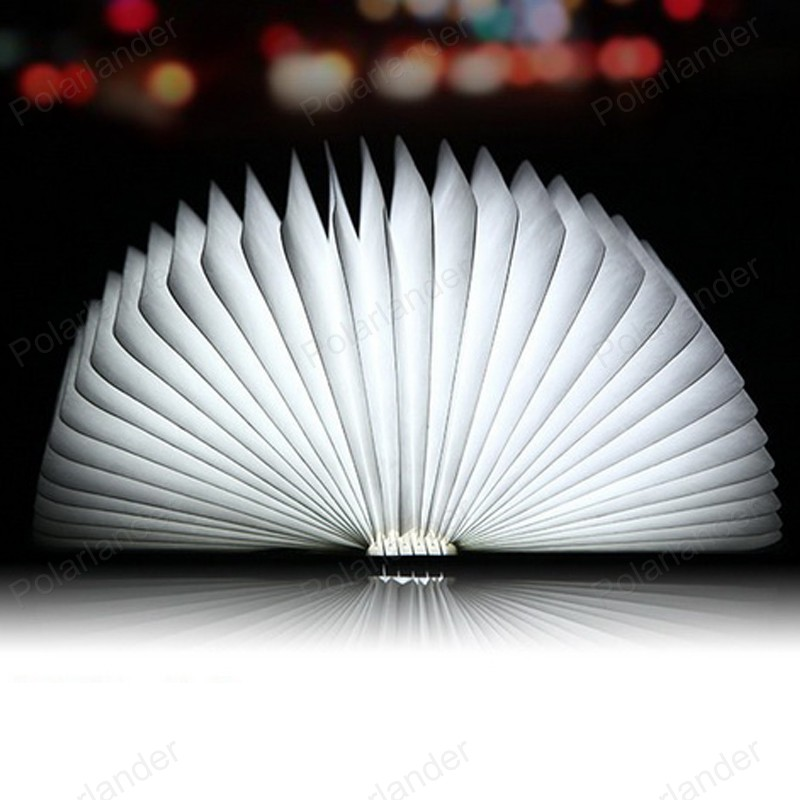 ФОТО brightness LED Good toughness 3D lights Foldable creative book light Novrtly gifts table lamp wooden night lighting