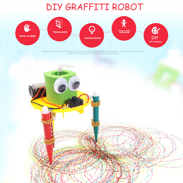 DIY STEM Toys for Children Physical Scientific Experiment Creativity Learning Educational Toy Kit Graffiti Robot Birthday Gift
