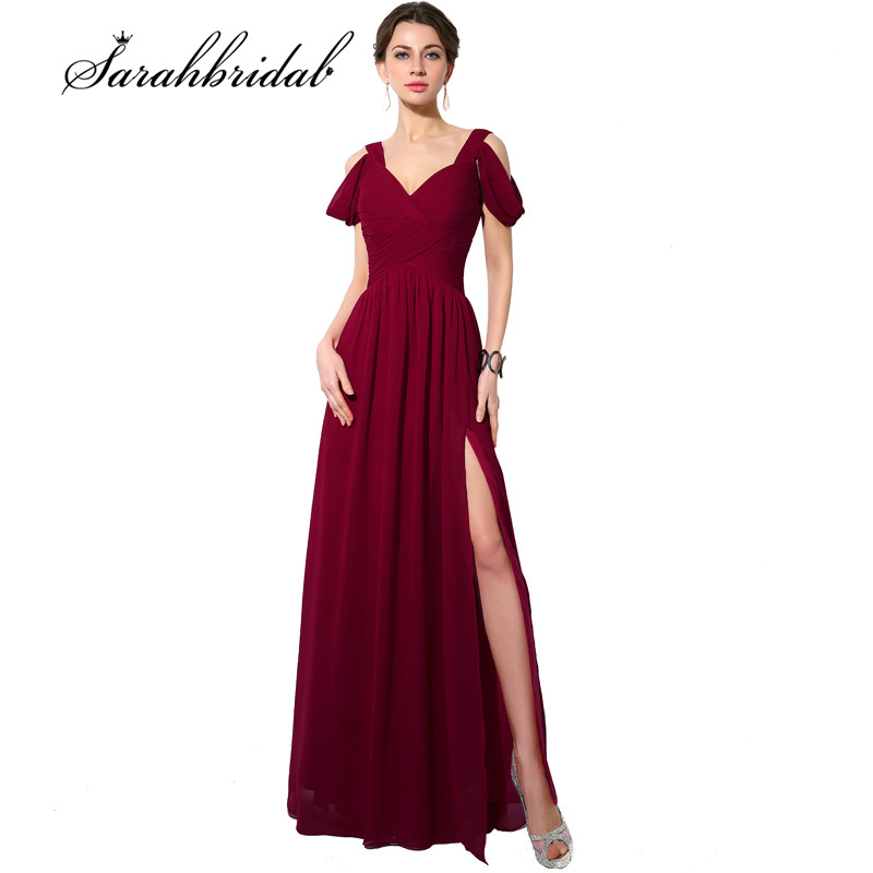 Burgundy Long   Prom     Dresses   Side Slit Off Shoulder Pleat Chiffon A line Sexy V-Neck Elegant Formal Evening Gowns SD186