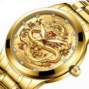 FNGEEN top luxury watch men quartz watch men dragon pattern luminous gold color quartz stainless steel band relogio masculino zhou lianfa fashion network world map lychee pattern gold quartz watch