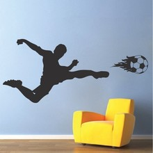Free Shipping Sports Wall Decal Soccer Art Sticker for Kids Bedroom Football Home bedroom Decor Mural DIY Removale