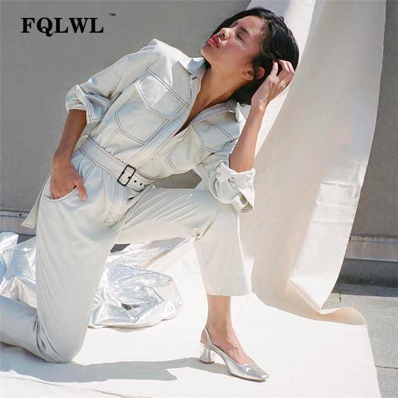 FQLWL mono de mezclilla Sexy para mujer mameluco de manga larga Cinturón Negro/blanco invierno otoño Jeans mono mujer 2018 Streetwear overoles