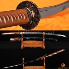 Hand Forged Japanese Samurai Katana Iaido Metal Craft Sword 1060 Carbon Steel Alloy Bird Tsuba Guard Unsharp Blade Full Tang