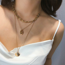 Charm Multilayer Alloy Scallop Pendant Necklace Women Bohemian Shell Choker Summer Beach Statement Jewelry Wholesale