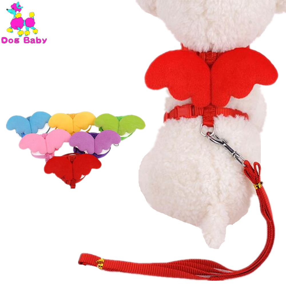 DOGBABY Cat Collar Leash Polyester Little Angel Wings Harness För Små Katter & Hundar Justerbar Valp Pet Dog Collars Storlek XS S M