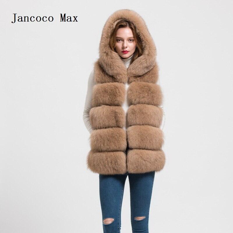 இJancoco Max 2018 À Capuchon D hiver de Renard Véritable Gilet De ... 9922168d2ea