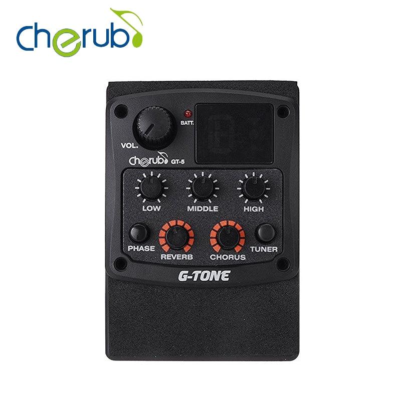 Cherub G-Ton GT-5 Guitare Acoustique Preamp Piezo Ramassage 3-Band EQ Égaliseur LCD Tuner avec Reverb/Effets de Chorus