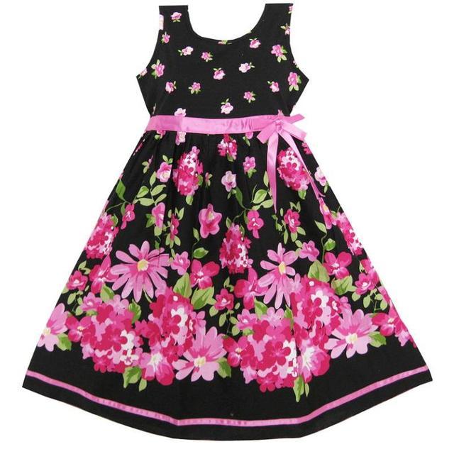 Sunny Fashion Girls Dress Hot Pink Flower Belt Party <b>Christmas</b> ...