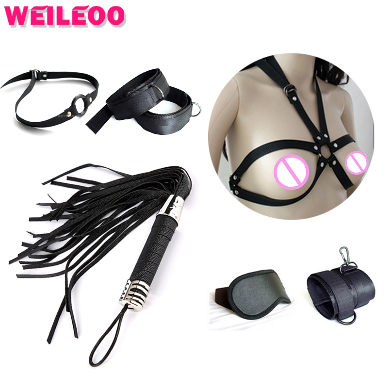 8 pcs hand cuffs blindfold gag whip harness bondage belt slave bdsm bondage sexy fetish adult games erotic sex toys for couples fetish sex furniture harness making love sex position pal bdsm bondage product erotic toy swing adult games sex toys for couples
