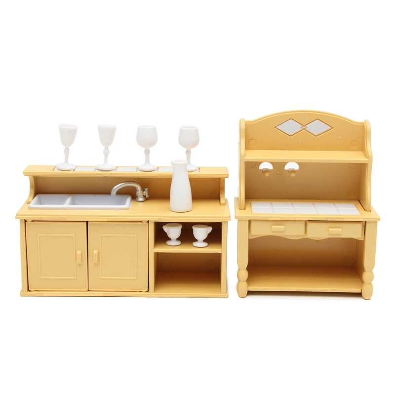 KiWarm Cute Miniatures Kitchen Cabinets Set Dolls House Furniture Ornaments Kids Toy Dolls Gift for Home Children Room Decor