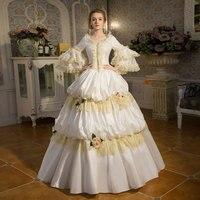 По индивидуальному заказу 2018 элегантное белое кружевное танцевальное платье 18 век рококо барокко Marie Antoinette бальное платье Прямая доставка