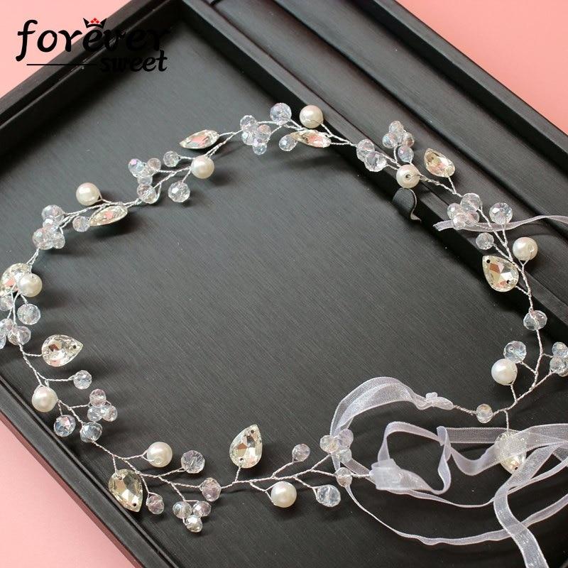 handgemachte weiße Kristallperlenperlen zarte Stirnband Kranz - Modeschmuck - Foto 1