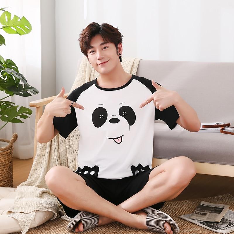 Summer Cotton Male Pajamas Short Sleeve O Neck Pullover Pajama Set Loose 5XL Sleepwear Suit Cartoon Panda Cute Men Pyjamas