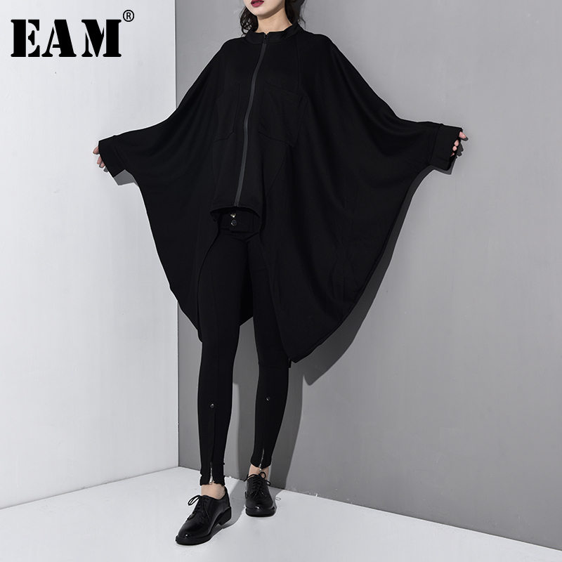 [EAM] 2019 New Spring Summer Stand Collar Long Batwing Sleeve Black Loose Long Big Size Windbreaker Women   Trench   Fashion JO014