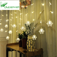 CHASANWAN 3 5 M 96 Lights Ice LED Strip Light Snowflakes Christmas Decorations for Home New
