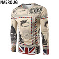 Men's London City 3D Printing T-shirt Long Sleeve Union Jack Shirt Top Hipster Handsome Street Spring Digital Printing T Shirt