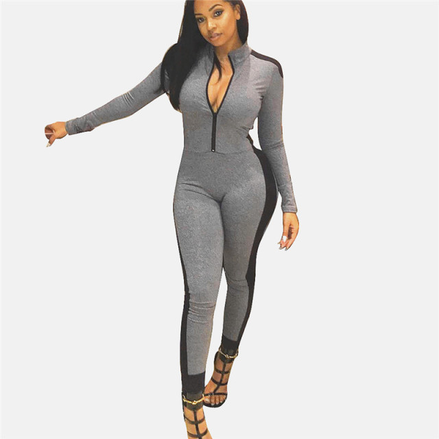 2017 Women's One Piece sleeveless exercise Jumpsuit grey piece dye Women Brazilian Style Catsuit set activewear gear leggings