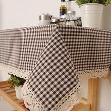 Manteles de algodón de revestimiento para mesas cuadradas polvo Anti Vintage cubierta de lino de mesa de tela escocesa de encaje blanco