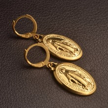 Anniyo Virgin Mary Earrings Gold Color Trendy Religious Jewelry Gifts Wholesale Drop Earrings For Women/Girls #098406
