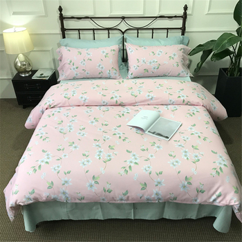Duvet Cover, Style Bedding Cotton Comfy Floral Flower Printed Reversible Pintuck Duvet Cover 4 pcs Set with Hidden Zipper and Co