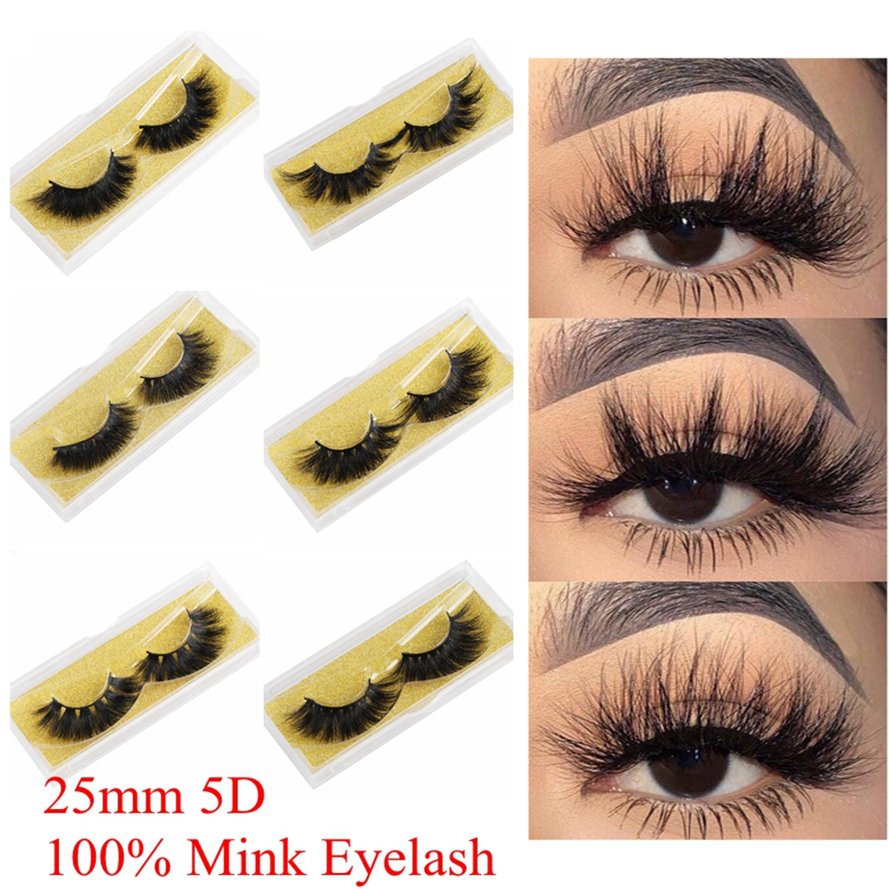 100% Mink Eyelashes 25mm Wispy Fluffy Fake Lashes 3D Makeup Big Volume Crisscross Reusable False Eyelash Beauty Fashion Tool
