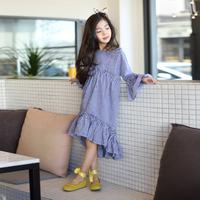 2017 Autumn Girls Korean Trendy Long Dress Navy Blue Checked Plaid Clothes For School Teens Age