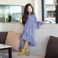 2017 Outono Meninas Coreano Moda Vestido Longo Azul Marinho Xadrez Verificado roupas para Adolescentes Escolares Idade 5678910 11 12 13 14 Anos velho