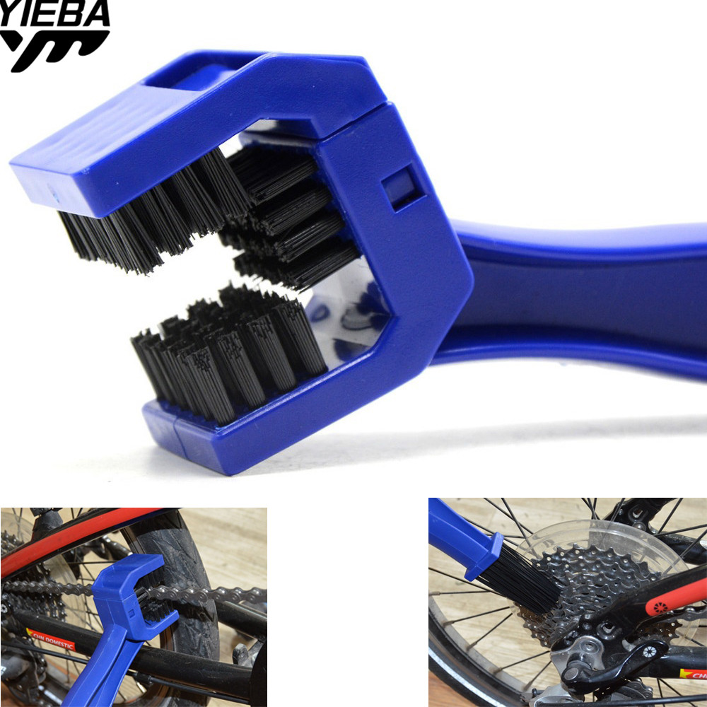 1x Bicycle Blue Chain Cleaner Wheel Brushes Scrubber Hand Tools For Honda Yamaha