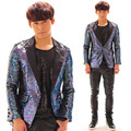 Fashion Plus Size Shining Sequins Blazer Coat Stage Performance Wear Paillette Costume Nightclub Dj Men Singer Jacket Outerwear