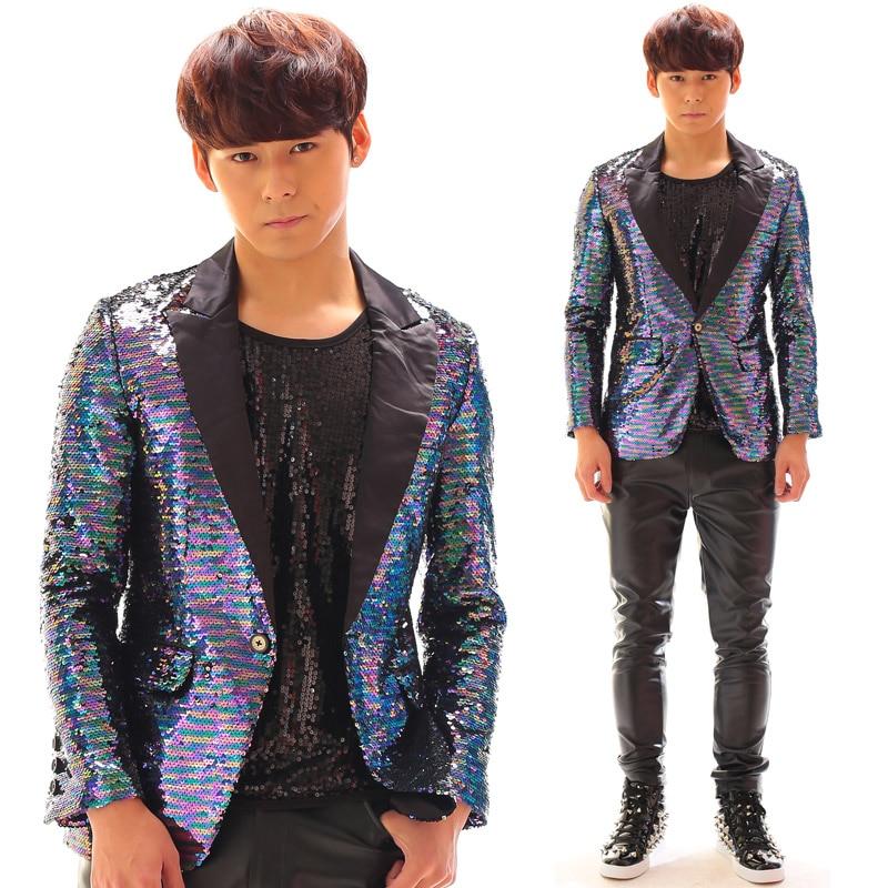5d9325682250b Moda más tamaño brillante Lentejuelas chaqueta desgaste del funcionamiento  de la etapa traje paillette DJ cantante chaqueta